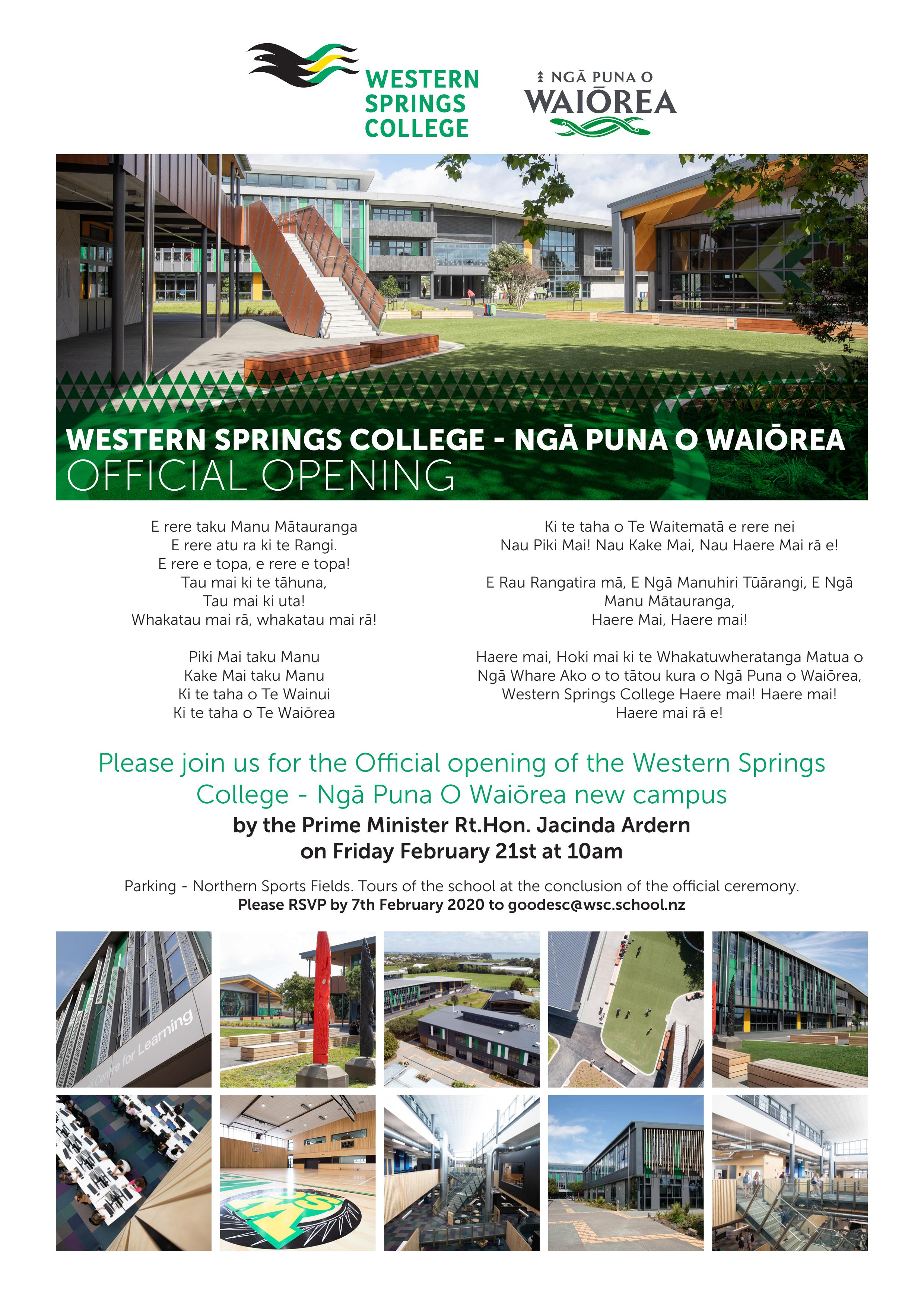 Western Springs College – Ngā Puna O Waiōrea Official Opening